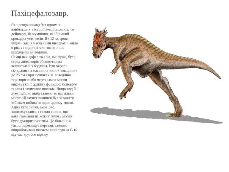 Пахіцефалозавр. Якщо тиранозавр був одним з найбільших в історії Землі хижакі...