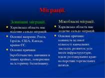 Міграції. Зовнішні міграції. Харківська область має від'ємне сальдо міграцій....