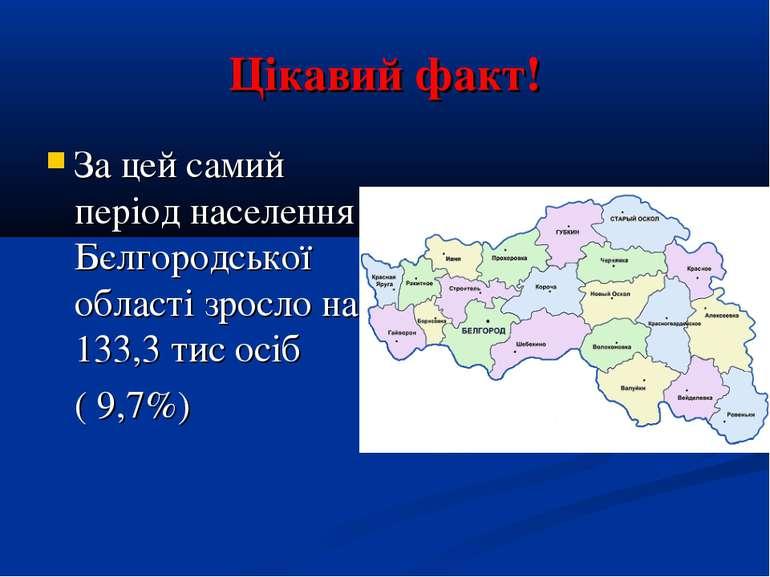 Цікавий факт! За цей самий період населення Бєлгородської області зросло на 1...