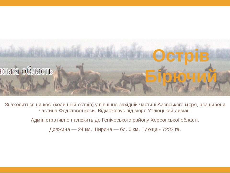 Знаходиться на косі (колишній острів) у північно-західній частині Азовського ...