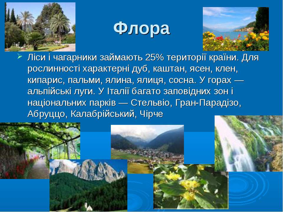 Флора Ліси і чагарники займають 25% території країни. Для рослинності характе...
