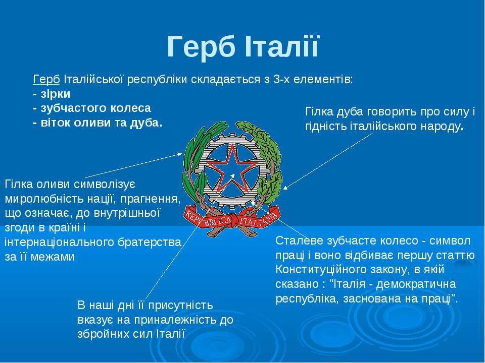 Герб Італії Герб Італійської республіки складається з 3-х елементів: - зірки ...