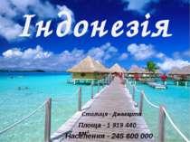 Індонезія Столиця - Джакарта Площа - 1 919 440 км² Населення - 245 600000