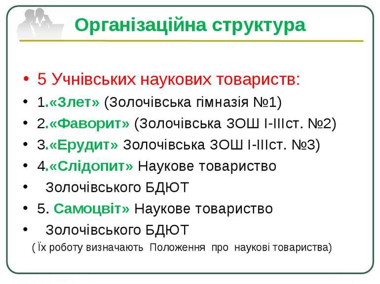Організаційна структура 5 Учнівських наукових товариств: 1.«Злет» (Золочівськ...