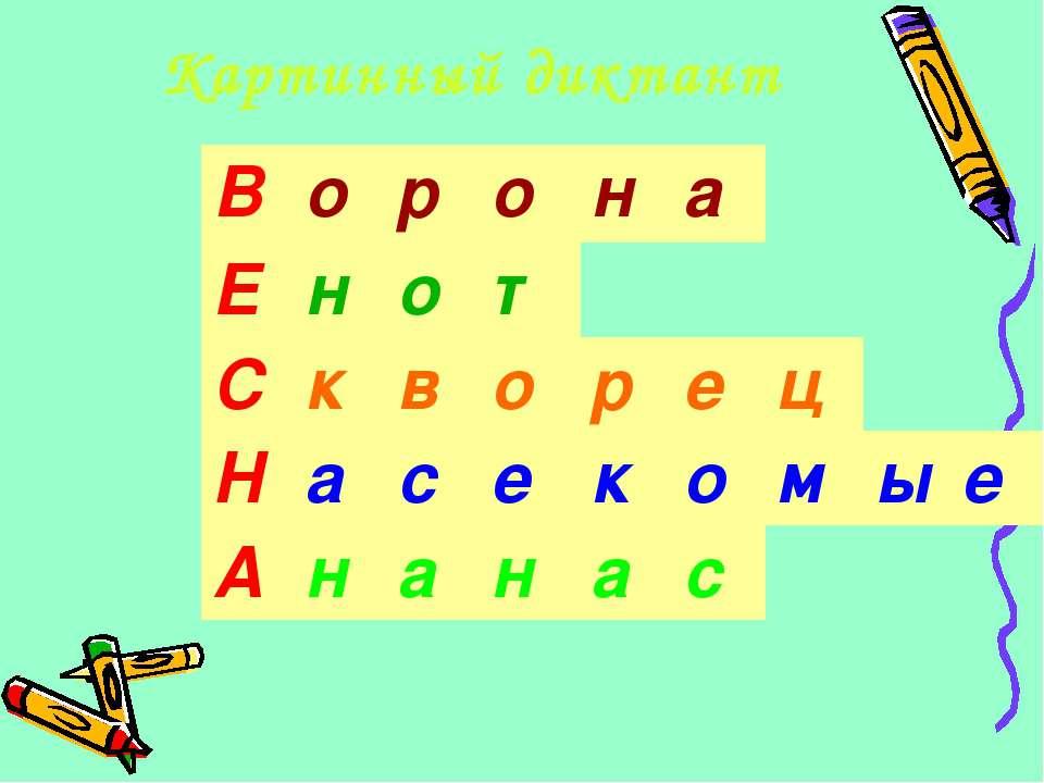 Картинный диктант В о р о н а Е н о т С к в о р е ц Н а с е к о м ы е А н а н...