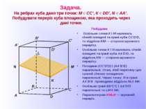 Задача. На ребрах куба дано три точки: М Є СС', К Є DD', N Є АА'. Побудувати ...