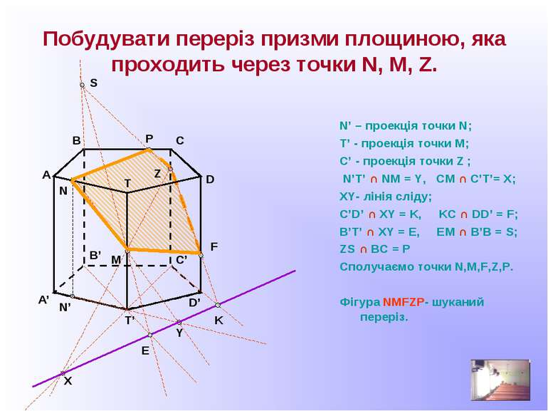 Побудувати переріз призми площиною, яка проходить через точки N, M, Z. N' – п...