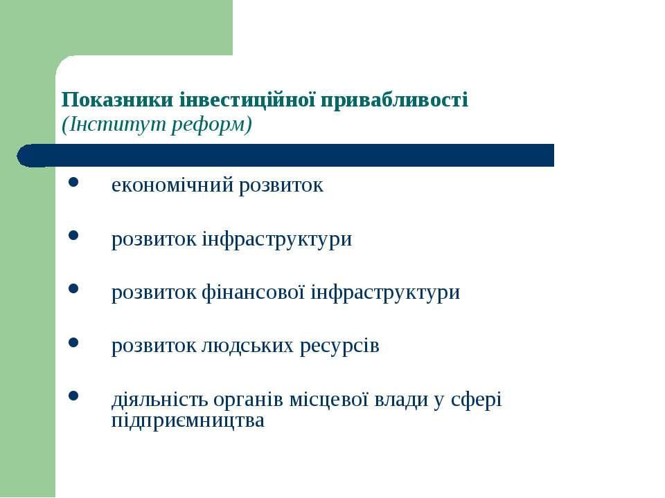 Показники інвестиційної привабливості (Інститут реформ) економічний розвиток ...
