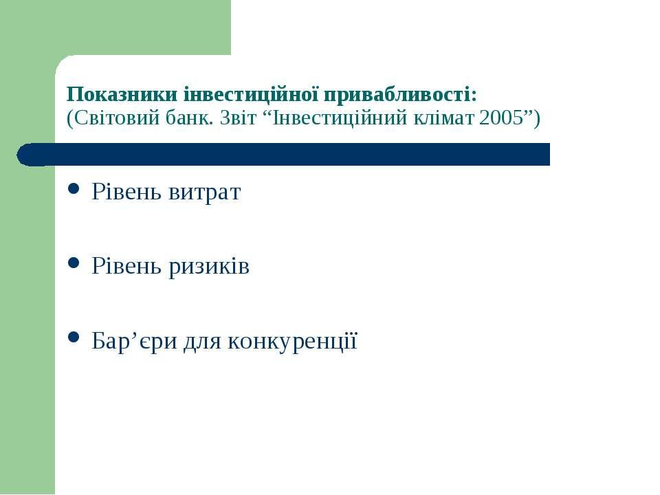 """Показники інвестиційної привабливості: (Світовий банк. Звіт """"Інвестиційний кл..."""