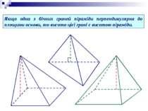 Якщо одна з бічних граней піраміди перпендикулярна до площини основи, то висо...