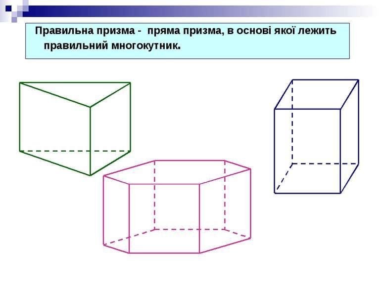 Правильна призма - пряма призма, в основі якої лежить правильний многокутник.