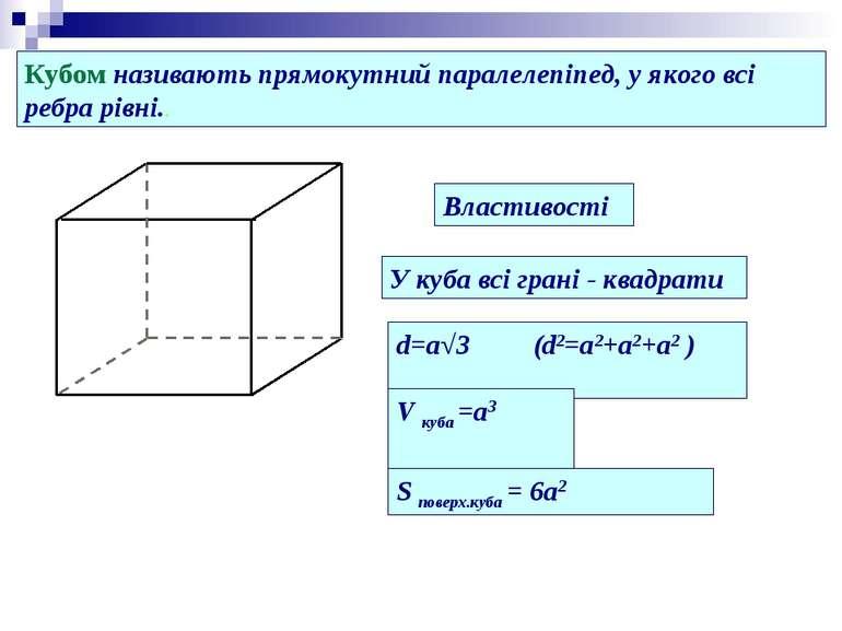 Кубом називають прямокутний паралелепіпед, у якого всі ребра рівні.. Властиво...