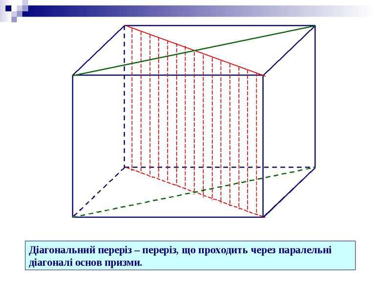 Діагональний переріз – переріз, що проходить через паралельні діагоналі основ...