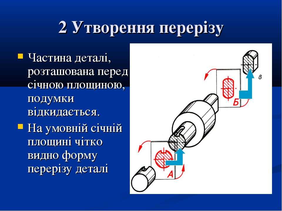 2 Утворення перерізу Частина деталі, розташована перед січною площиною, подум...