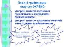 Похідні прийменники пишуться ОКРЕМО: утворені шляхом поєднання прислівників з...