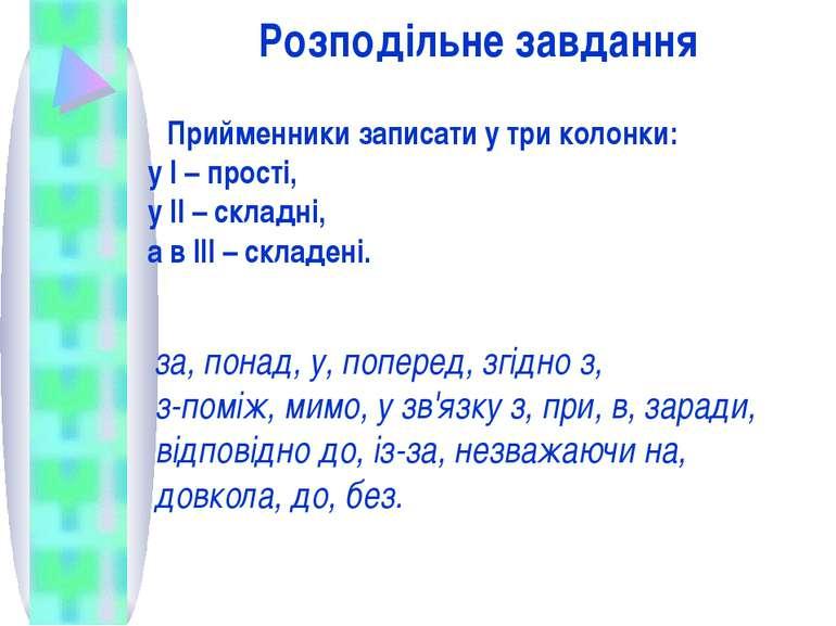 Розподільне завдання Прийменники записати у три колонки: у І – прості, у ІІ –...