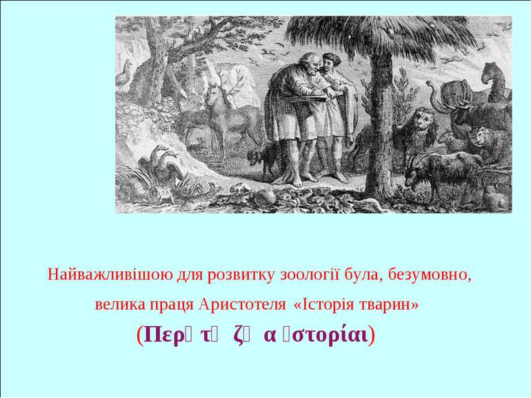 Найважливішою для розвитку зоології була, безумовно, велика праця Аристотеля ...