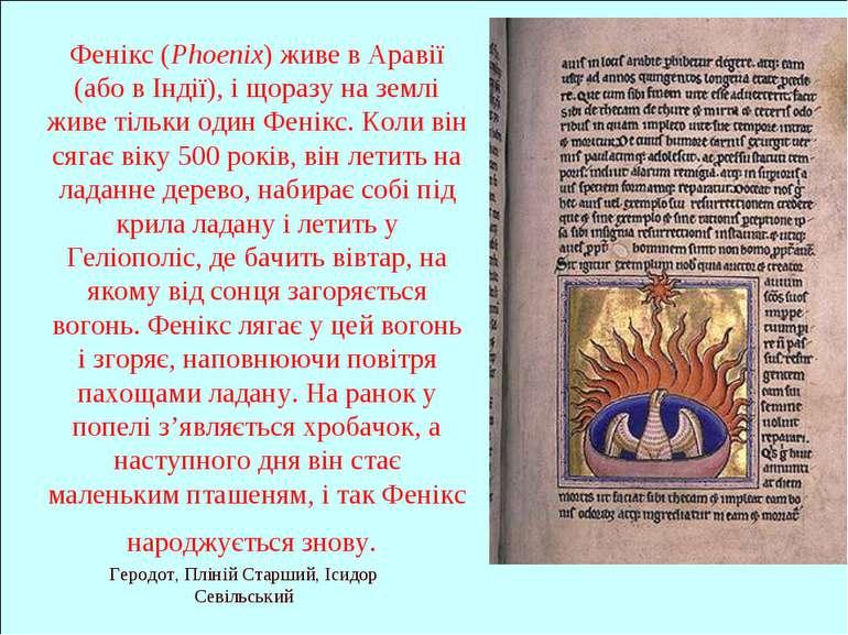 Геродот, Пліній Старший, Ісидор Севільський Фенікс (Phoenix) живе в Аравії (а...