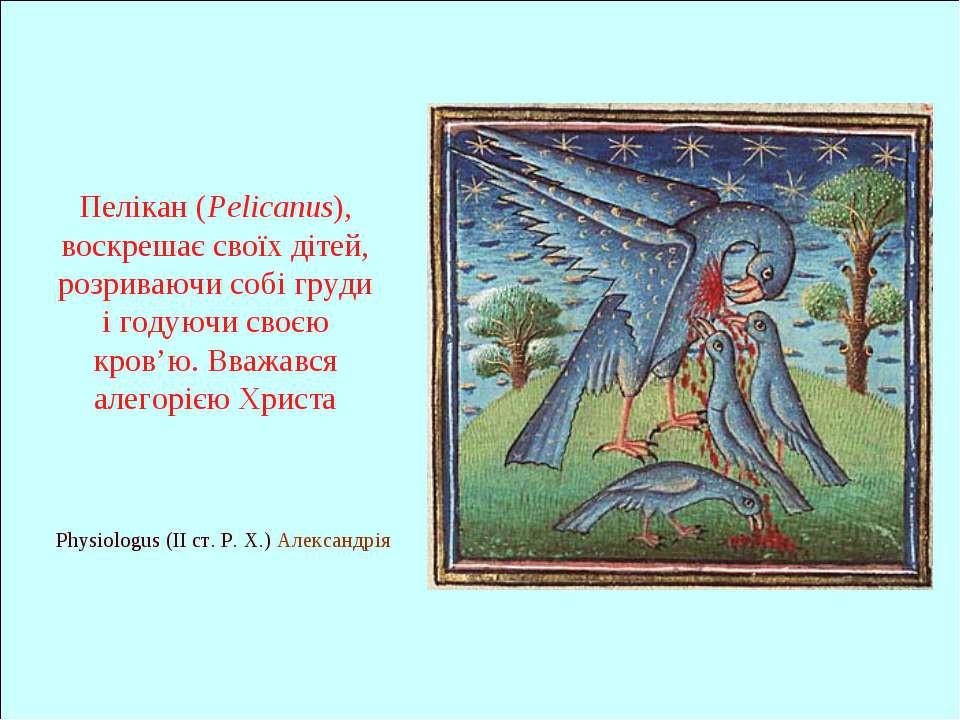 Physiologus (II ст. Р. Х.) Александрія Пелікан (Pelicanus), воскрешає своїх д...