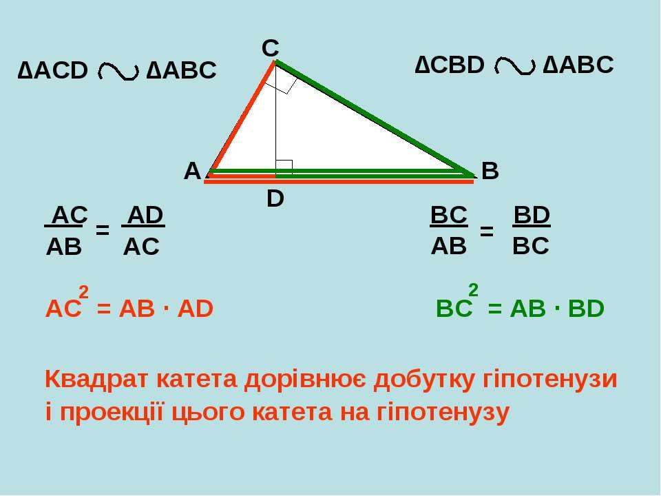 A B C D ∆АCD ∆АВС ∆CBD ∆АВС ВС = АВ BC = AB ∙ BD 2 AC = AB AC = AB ∙ AD 2 Ква...