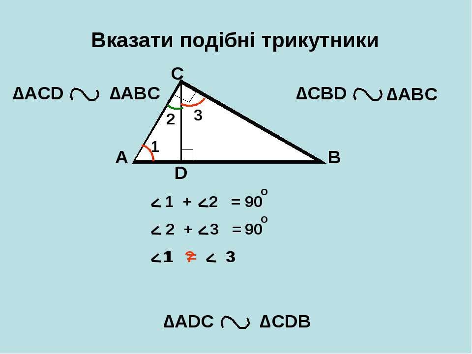 Вказати подібні трикутники A B C D ∆АCD ∆CBD ∆АDС ∆CDB ∆АВС ∆АВС 1 2 3 < < < ...