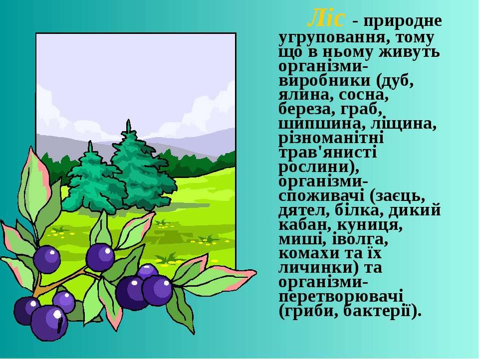 Ліс - природне угруповання, тому що в ньому живуть організми-виробники (дуб, ...
