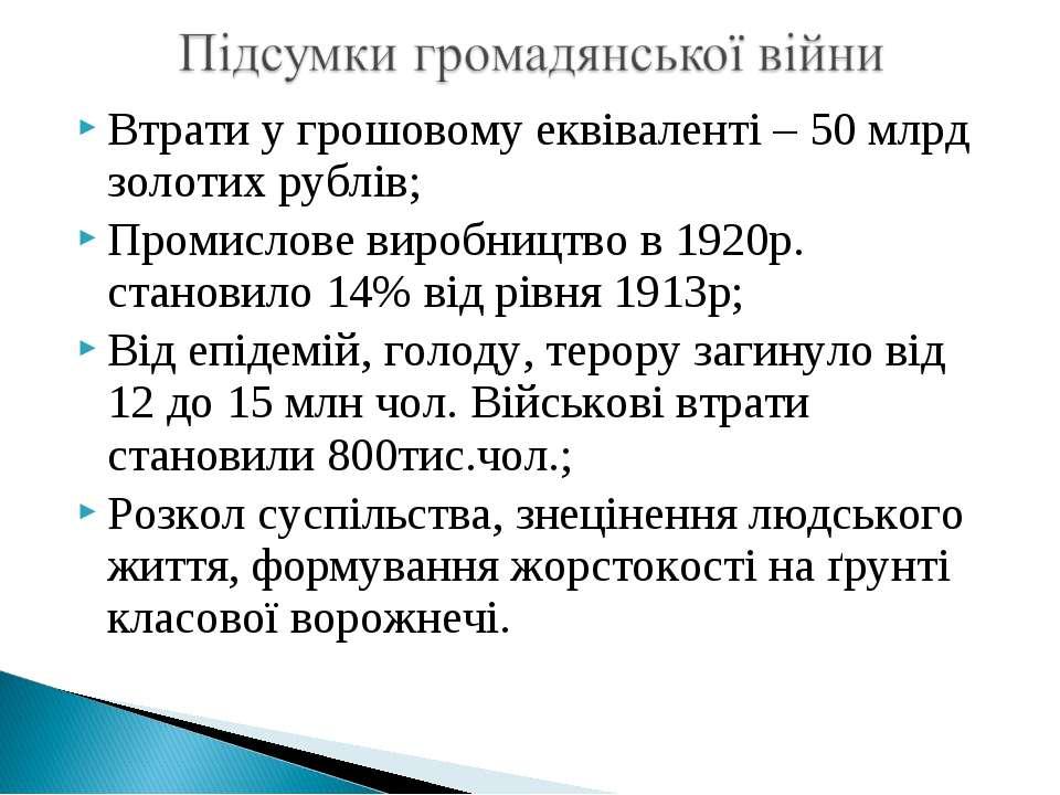 Втрати у грошовому еквіваленті – 50 млрд золотих рублів; Промислове виробницт...