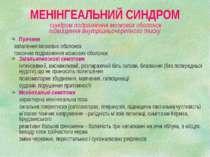 МЕНІНГЕАЛЬНИЙ СИНДРОМ синдром подразнення мозкових оболонок підвищення внутрі...
