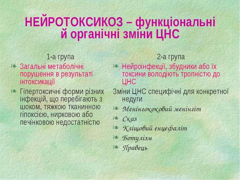 НЕЙРОТОКСИКОЗ – функціональні й органічні зміни ЦНС 1-а група Загальні метабо...