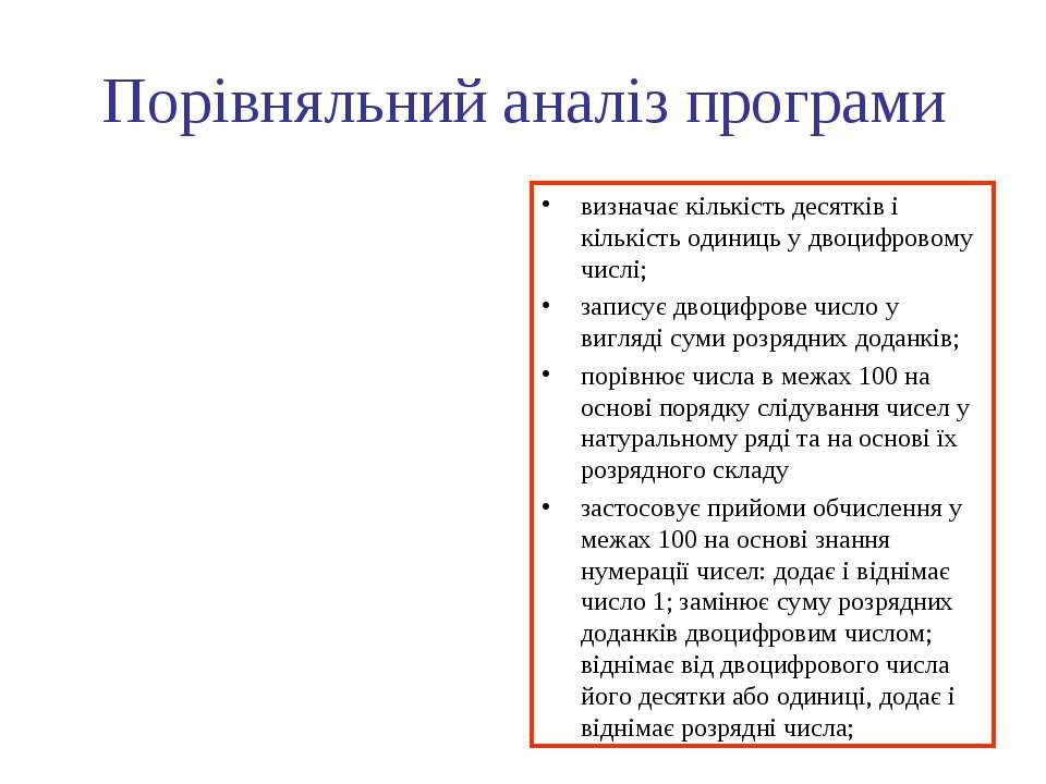 Порівняльний аналіз програми визначає кількість десятків і кількість одиниць ...