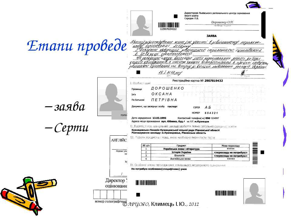 Етапи проведення. Реєстрація заява Сертифікат © ЛРЦОЯО, Климець І.Ю., 2012
