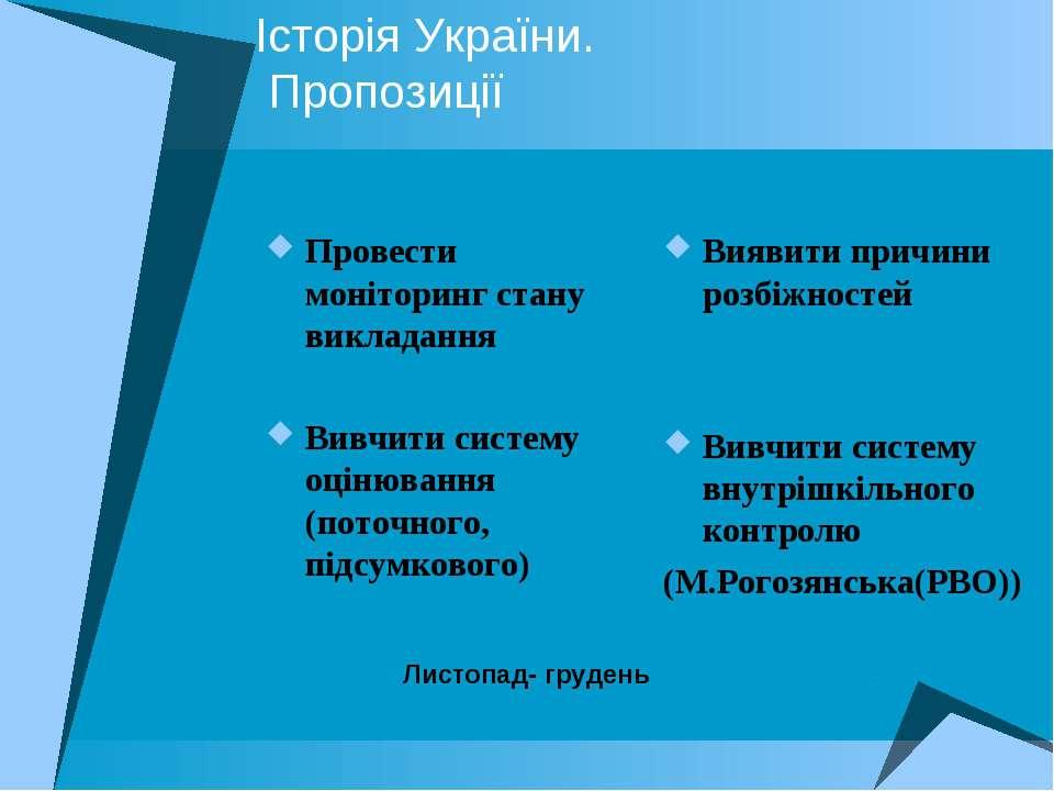 Історія України. Пропозиції Провести моніторинг стану викладання Вивчити сист...