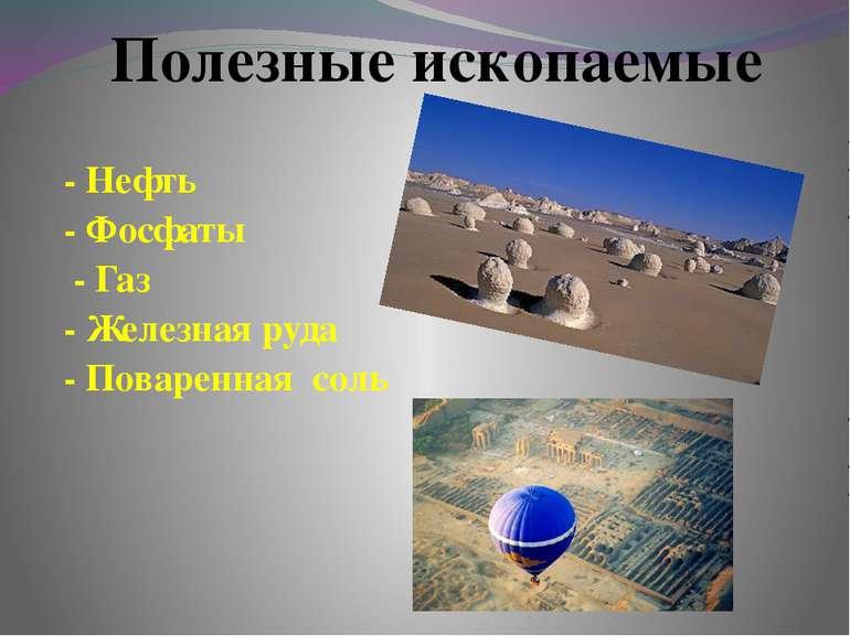- Нефть - Фосфаты - Газ - Железная руда - Поваренная соль Полезные ископаемые
