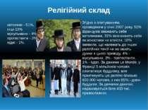 Релігійний склад католики - 51%, інші-10% мусульмани - 4%, протестанти - 3%, ...
