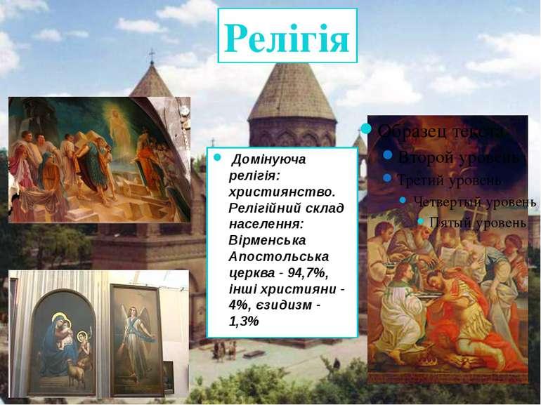 Релігія Домінуюча релігія: християнство. Релігійний склад населення: Вірменс...