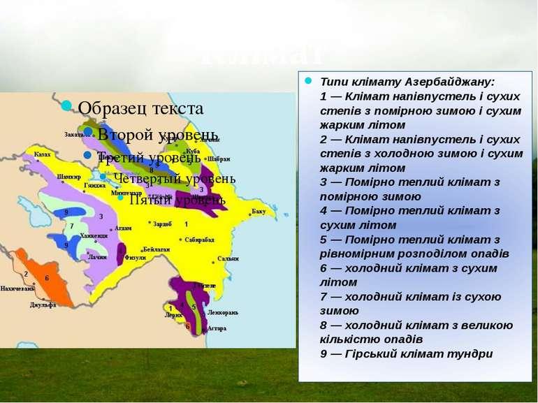 Клімат Типи клімату Азербайджану: 1 — Клімат напівпустель і сухих степів з по...
