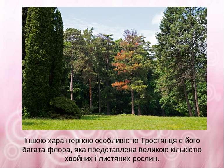 Іншою характерною особливістю Тростянця є його багата флора, яка представлена...