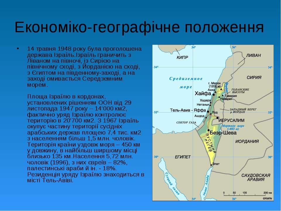 Економіко-географічне положення 14 травня 1948 року була проголошена держава ...