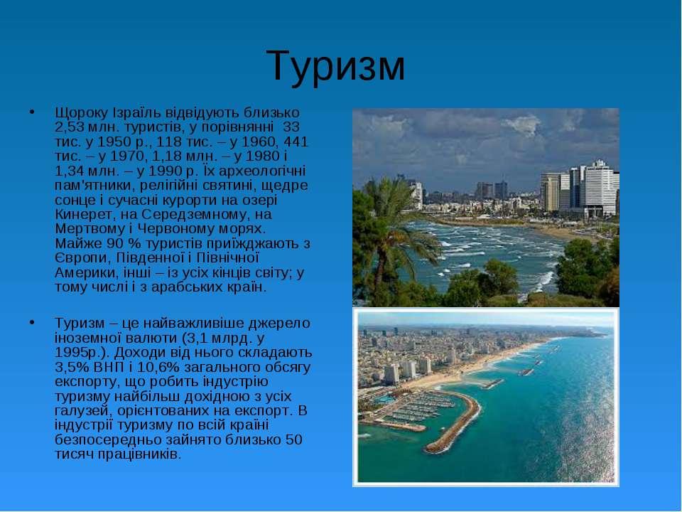 Туризм Щороку Ізраїль відвідують близько 2,53 млн. туристів, у порівнянні 33 ...