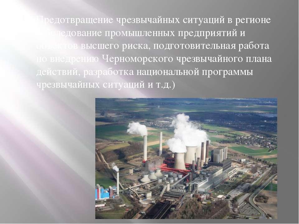 Предотвращение чрезвычайных ситуаций в регионе (обследование промышленных пре...