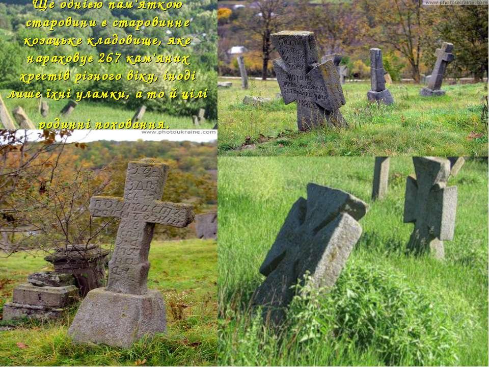 Ще однією пам'яткою старовини є старовинне козацьке кладовище, яке нараховує ...