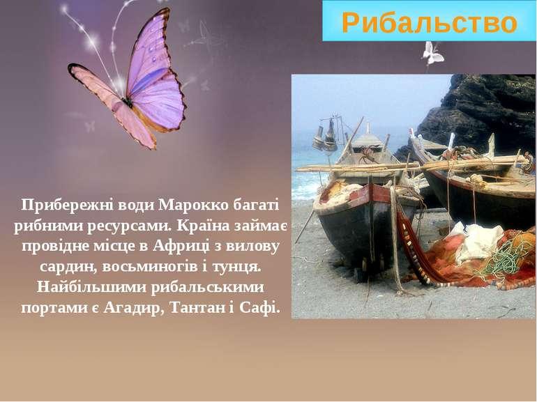 Прибережні води Марокко багаті рибними ресурсами. Країна займає провідне місц...