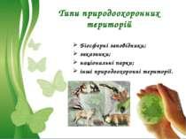 Типи природоохоронних територій Біосферні заповідники; заказники; національні...