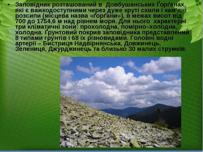 Заповідник розташований в ДовбушанськихҐорґанах, які є важкодоступними чере...