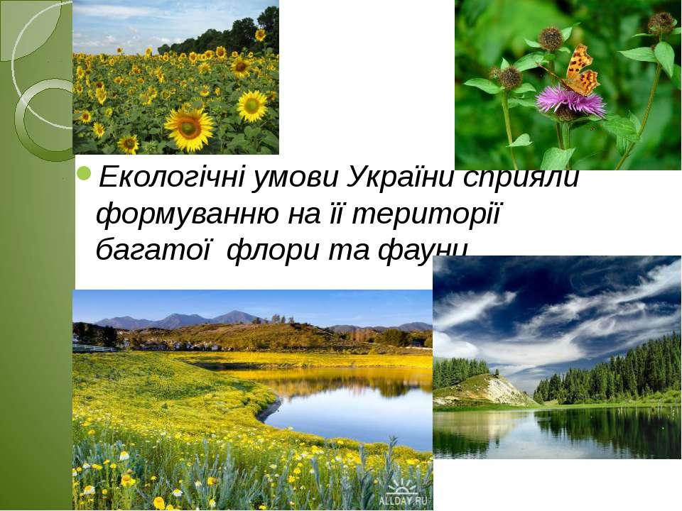 Екологічні умови України сприяли формуванню на її території багатої флори т...