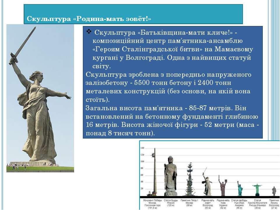 Скульптура «Родина-мать зовёт!» Скульптура «Батьківщина-мати кличе!» - компо...