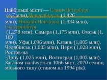 Найбільші міста—Санкт-Петербург(4,7млн),Новосибірськ(1,426 млн),Нижній...