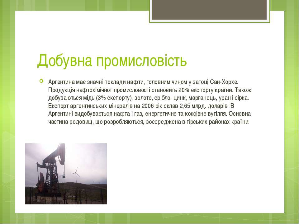 Добувна промисловість Аргентина має значні поклади нафти, головним чином у за...