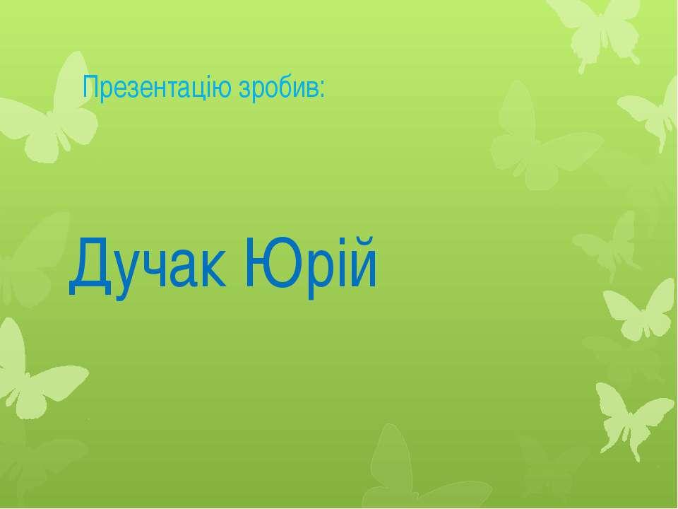 Презентацію зробив: Дучак Юрій