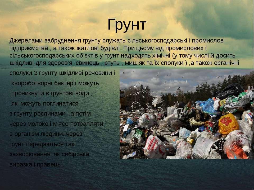 Грунт Джерелами забруднення грунту служать сільськогосподарські і промислові ...